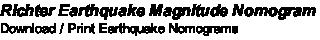 Richter Earthquake Magnitude Nomogram Download / Print Earthquake Nomograms